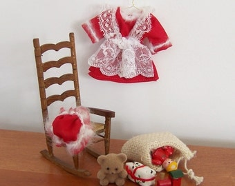 Mrs Claus' Dress Dollhouse Miniature, Christmas Decor Three-Dimensional Handmade 1/12 Scale Mini with Matching Cap, Dress and Hat Only