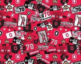 NCAA Ohio State Buckeyes 100% Cotton V4 Fabric by the yard
