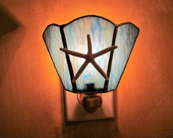 Starfish Accents Night Light - Ocean Blue Mixed Ripple Glass Authentic Stained Glass - Authentic 3 Inch Starfish - Wide Fan Design