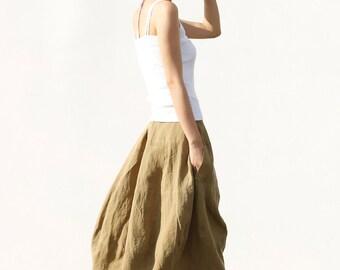 Romantic Bud Skirt Summer Skirt Linen Skirt in Bean Green - NC046