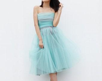 On Sale Size S Tulle Skirt  Elastic Waist tulle tutu Princess Skirt in Mint Grey - NC508-10