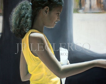 Les Cacahuetes :  11 x 16 Giclée Print Limited Edition, litle girl in Havana