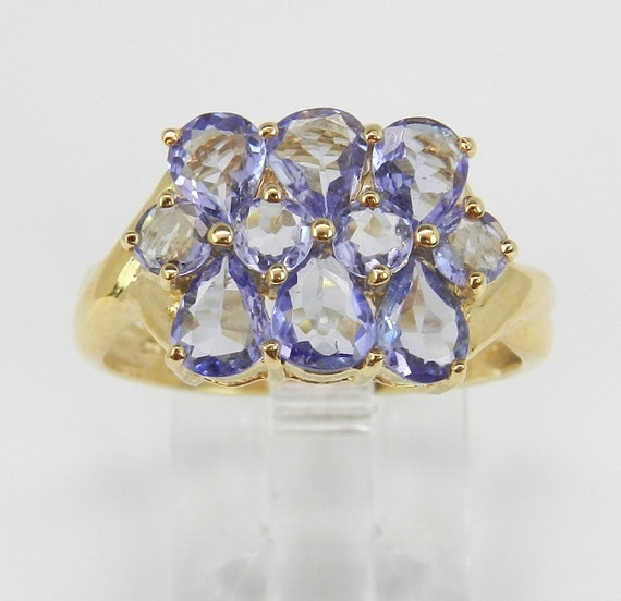 SALE Tanzanite Cluster Cocktail Ring Purple Lavender 14K Yellow Gold Size 8