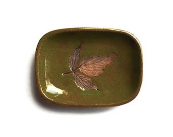 Olive Green  Leaf Ceramic Trinket Dish Change Tray Leaf Design Ceramic Oblong Dish