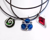 Zelda Ocarina of Time Spiritual Stone Necklace Set, Black Cord, All Three Spiritual Stones, Silver Accents
