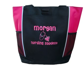 Tote Bag Personalized Nurse Student RN BSN ER Lvn fnp Midwife Doula Surgical Nicu Med Assistant Emergency Room Department Nursing Clinical