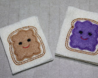 Peanut Butter and Jelly feltie set, choice of set of 4 PB and J hair accessories, scrap booking or crafts
