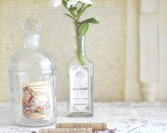 Vintage French Perfume Bottle Guerlain Cottage Chic Shabby Chic Parisian Chic
