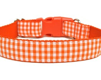 "Fall Dog Collar 1"" Gingham Dog Collar SIZE LARGE"