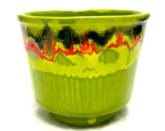 Retro Lime Green Drip California Pottery Planter