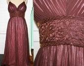 Vintage Designer OLEG CASSINI- Grecian Goddess Dress- Silk Chiffon- Beaded Midriff- Floor Length Maxi Dress-Wedding Guest- Waist 31 Size 10