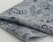 Gray Split Leather,Printed Genuine Leather, Comics Print