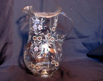 Lemonade Pitcher with Hand Painted Design / Hand Blown Clear Pitcher with Hand Painted Daisies