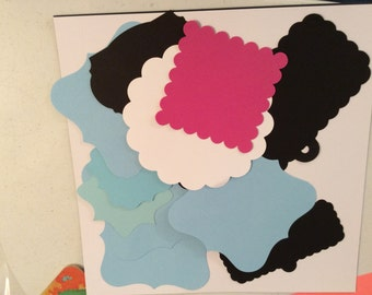 11 Cardstock, Pieces, Blue, White, Black, Pink