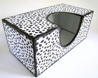 Decoupage Tissue / Kleenex Box Cover in White With Irregular Shaped Black Dots