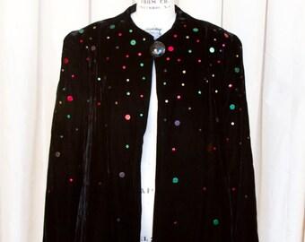 1940s Jacket // Studded Black Velvet Old Hollywood Glamour Evening Jacket
