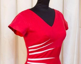 1950s Dress // Red Hot Bombshell Linen Wiggle Dress by Sa'Bett of California