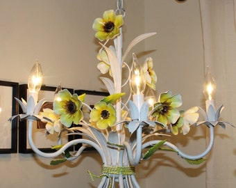 Beautiful Vintage, White, Yellow, Green and Brown, 5 Arm, Floral, Tole Painted, Chandelier