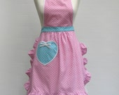 Women's full retro apron - pink turquoise polkadot print cotton
