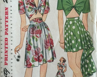 Vintage Sewing Pattern 40s Simplicity #1020 Playsuit Midriff Top Short Skirt Pattern ©1944 FF