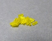 Yellow Bugle Beads. Tube Seed Beads. Matt. Canary. 4mm