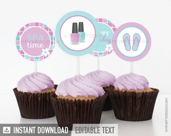 Spa Party - Cupcake Toppers - Party Circles - Pink Aqua - INSTANT DOWNLOAD - Printable PDF with Editable Text
