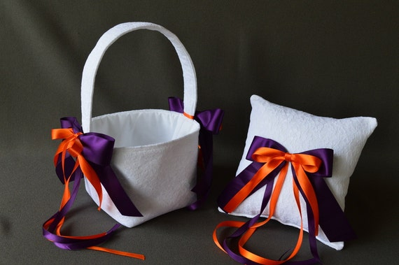 Lace wedding ring pillow and flower basket set with plum purple and orange ribbon bows