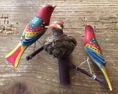 Reserved for Linda Colorful Trio of Wood Birds with Eggs in Nest