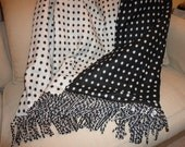 Classic Sophisticated Black and White Polka Dot Wool Throw Blanket, One of a Kind, Bold and Beautiful