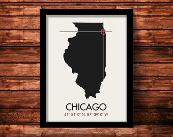Chicago Map Print | Chicago Map Art | Chicago Print | Chicago Gift | Illinois Map | 11 x 14 Print
