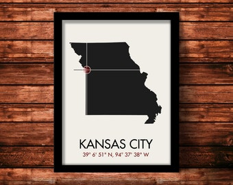 Kansas City Map Print | Kansas City Map Art | Kansas City Print | Kansas City Gift | Missouri Map | 11 x 14 Print