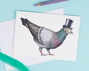 Pigeon in a Top Hat: A6 Birds in Hats Greetings Card