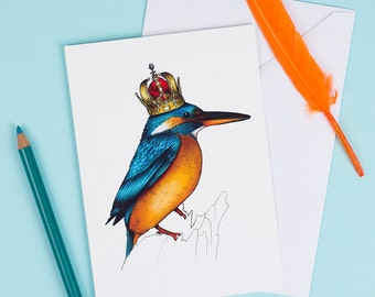 Kingfisher in a Crown: A6 Birds in Hats Greetings Card