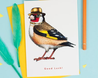 Good Luck!: Goldfinch in a Bowler and Bow Tie Birds in Hats Greetings Card