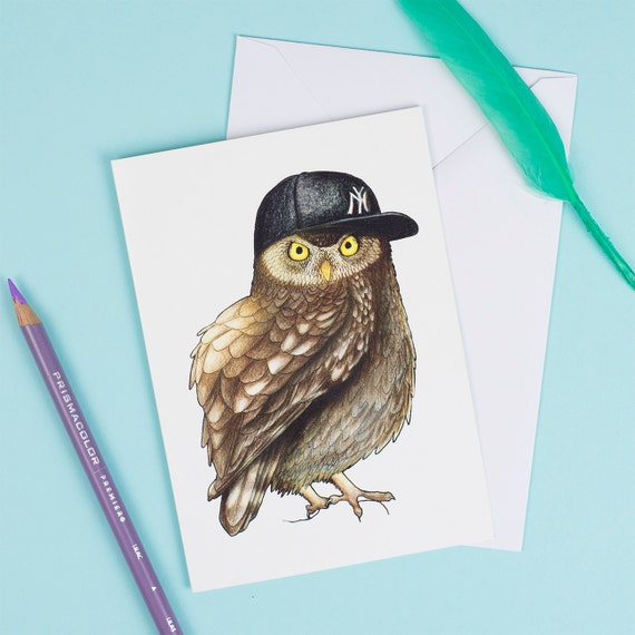 Owl in a Baseball Cap: A6 Birds in Hats Greetings Card