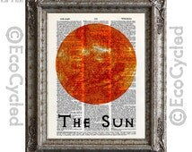 The Sun Center of Our Solar System on Vintage Upcycled Dictionary Art Print Book Print Recycled Astronomy Cosmos
