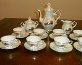 Vintage Varitable Pearlized Porcelain Demitasse Set Service For 8 (21pcs)