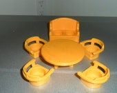 Vintage Fisher Price Little People Orange Table/Captain's Chairs and Two Seat Sofa Couch