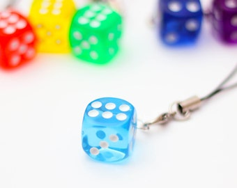 D6 phone charm - light blue, dnd, dice, tabletop, board games, geeky charm, nerdy phone charm