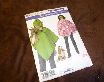 Pattern Simplicity 3965 No Sew Simple and Easy Poncho for You and Your Dog