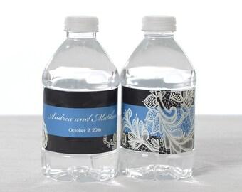 Vintage Wedding Water Labels - Waterproof Water Bottle Labels - Custom Wedding Water Bottle Labels
