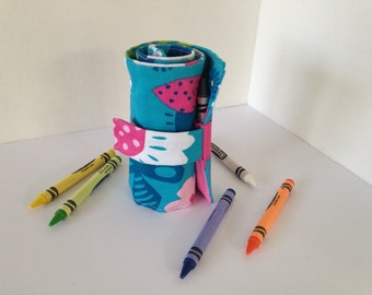 Crayon Holder Rollup - Crayon Roll - Crayon Storage - Travel Carrier - Crayon Case - Holds 15 crayons!