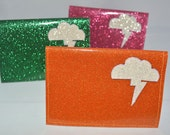 Cloud Lightning Bolt Glitter Vinyl Billfold Wallet