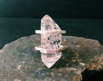 Double Caged Tibetan Quartz Ring - Sterling Silver