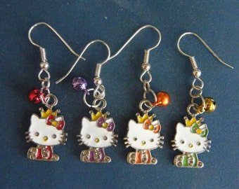 Cute Cat, Enamel Charm, & Jingle Bell, Dangle Earrings! Cat Earrings, Girls Earrings, T'ween Earrings, Teen Earrings, Women's Earrings