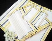 Vintage Linen Napkins, Matkins, Runner, Yellow Black White 1950's