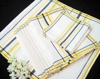 Vintage Linen Napkins, Matkins, Runner, Yellow Black White 1950's