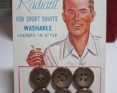 Vintage 1950's-60's unused buttons on card with graphics of man with a cigarette Radiant for sports shirts washable buttons