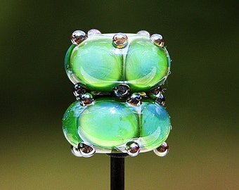 Green Bubbles Handmade Lampworked Glass Beads OOAK Pair Rondelles Green Blue Silver Lampwork