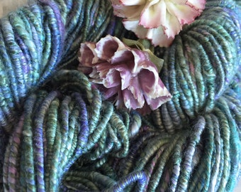 Handspun Silk Yarn Supercoil in Lavenders and Greens